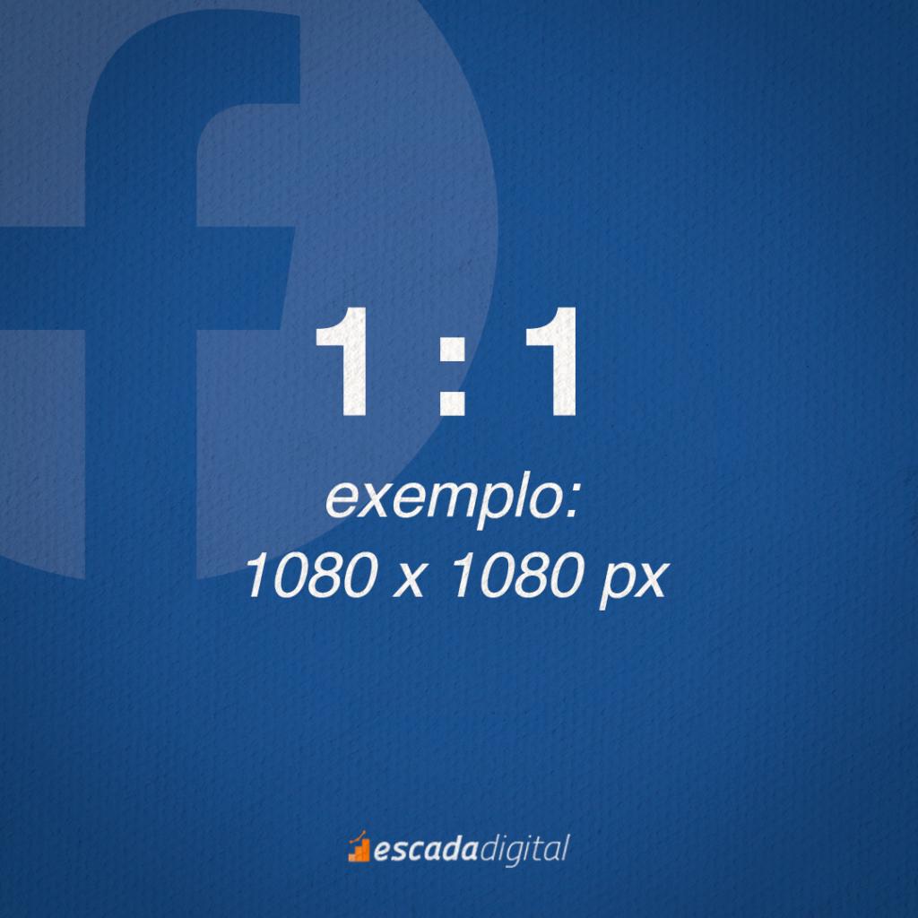 Formato de Imagem do Facebook para o Feed. 1 por 1 de proporção. Um exemplo de imagem com esse tamanho seria: 1080 x 1080 px