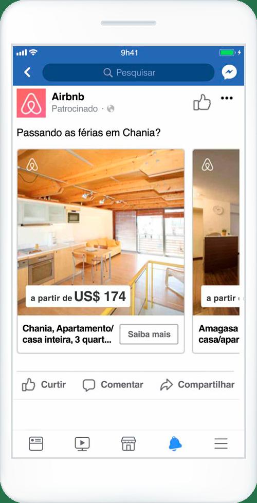 Celular com exemplo de anúncio de Carrossel do Facebook.