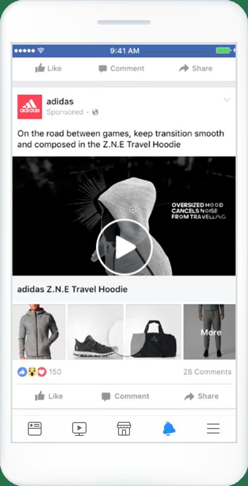 Celular com exemplo de anúncio de Coleção do Facebook.
